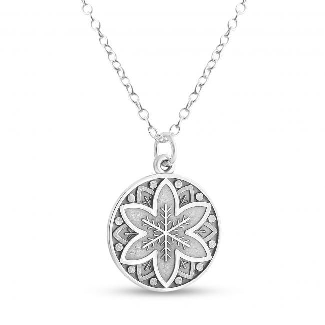 925 sterling silver necklace Mandala Flower and Snowflake Coin Sacred Path Spiritual Jorney
