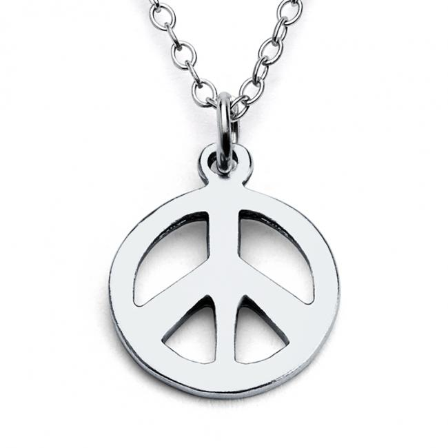 925 sterling silver necklace Tiny Peace Sign Hippie Symbol