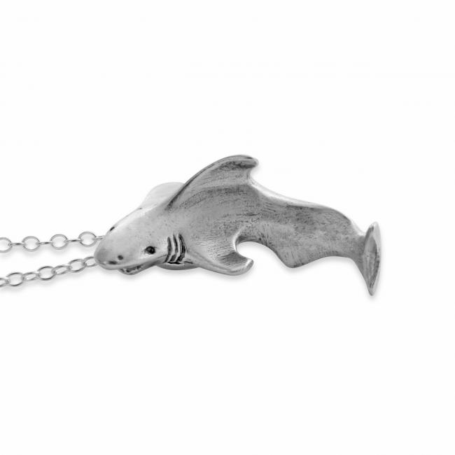 925 sterling silver necklace Swimming Great White Shark Sea Ocean Predator
