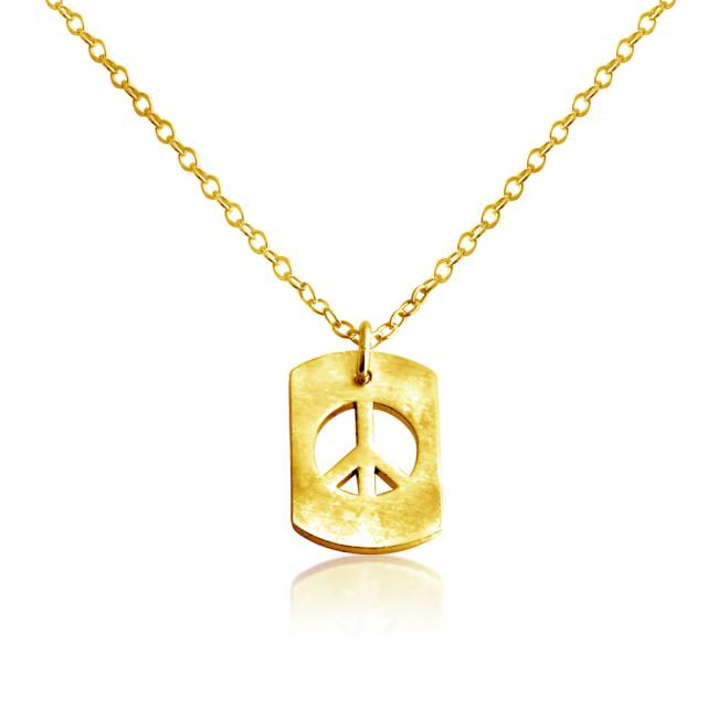 Gold plated necklace Peace Sign Dog Tag