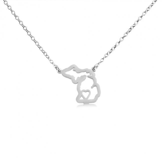 925 sterling silver necklace Michigan Home is Where The Heart Is State Necklace