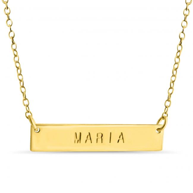 Gold plated necklace Name Bar Maria