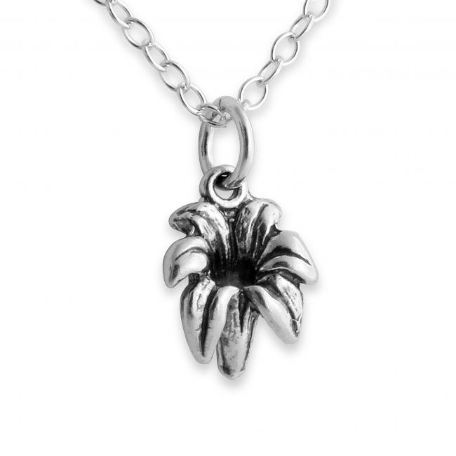925 sterling silver necklace 3D Tender Lily Flower Floral
