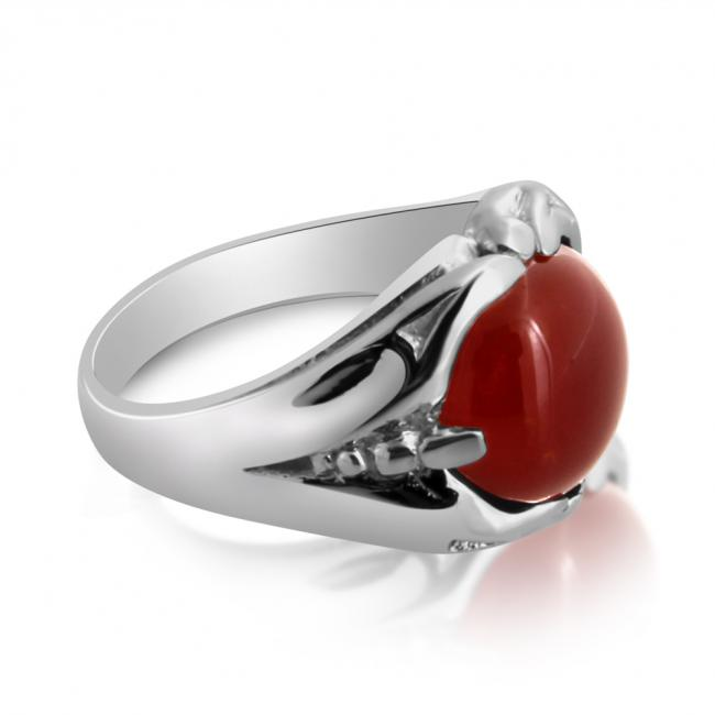 925 sterling silver ring Mens Ring w/ Large Cabochon Red Orange Carnelian Stone