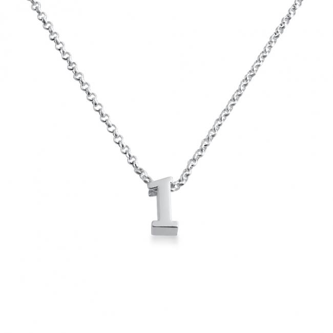 925 sterling silver necklace Initial Letter 1 Personalized Symbols & Letters Serif Font