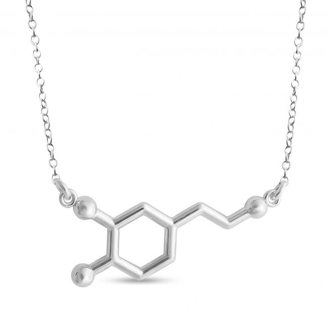 925 sterling silver necklace Dopamine Molecule Pleasure Hormone Chemical Structure