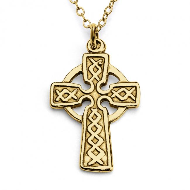 Gold plated necklace Celtic Cross Irish Religious