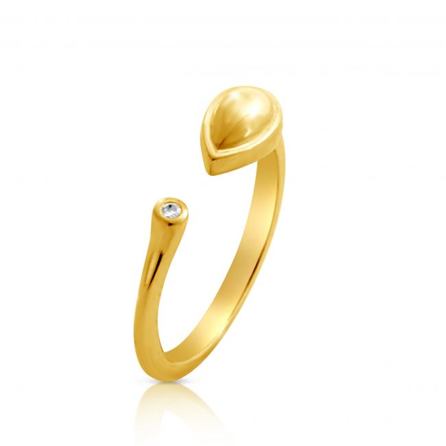 Gold plated ring 2mm (0.03 ct. tw) Diamond Tear Drop Resizable