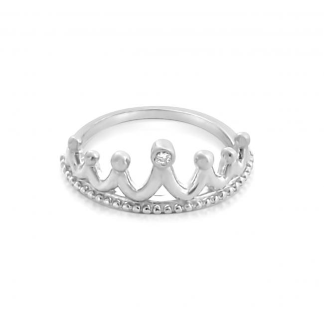 925 sterling silver ring 2mm (0.03 ct. tw) Diamond Princess Tiara