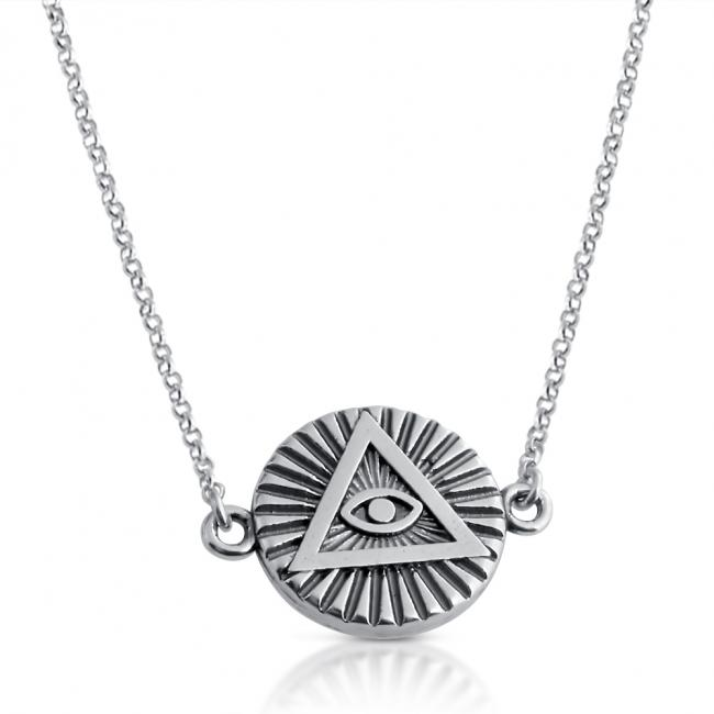 925 sterling silver necklace <strong>Illuminati</strong> Circle Sideways