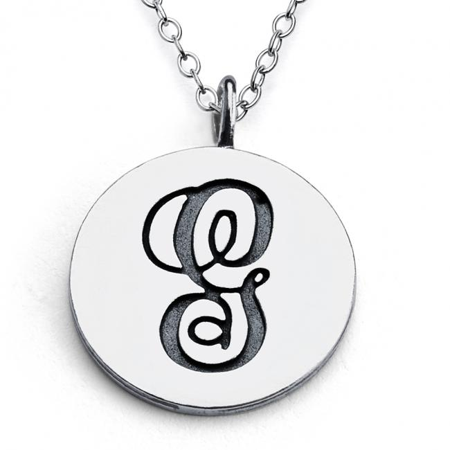 925 sterling silver necklace G Script Letters
