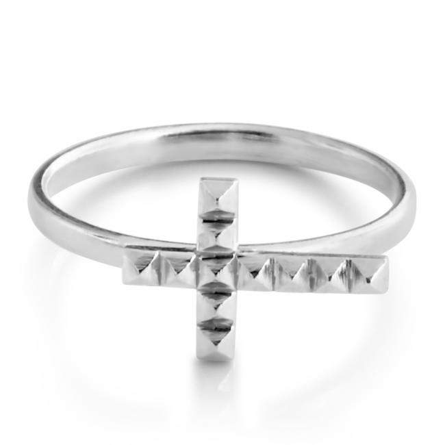 925 sterling silver ring Pyramid Textured Cross