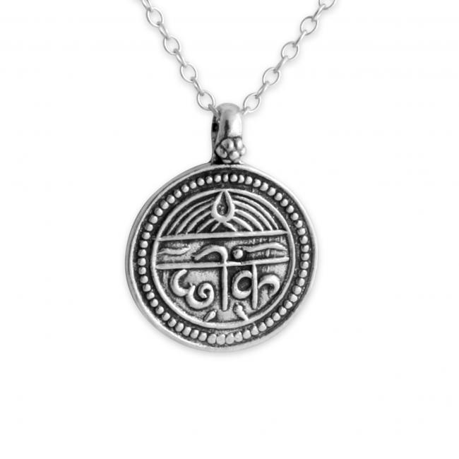 925 sterling silver necklace Sanskrit Coin for Good Health