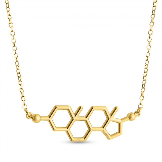 Gold plated necklace Testosterone Molecule Male Sex Hormone Chemical Structure