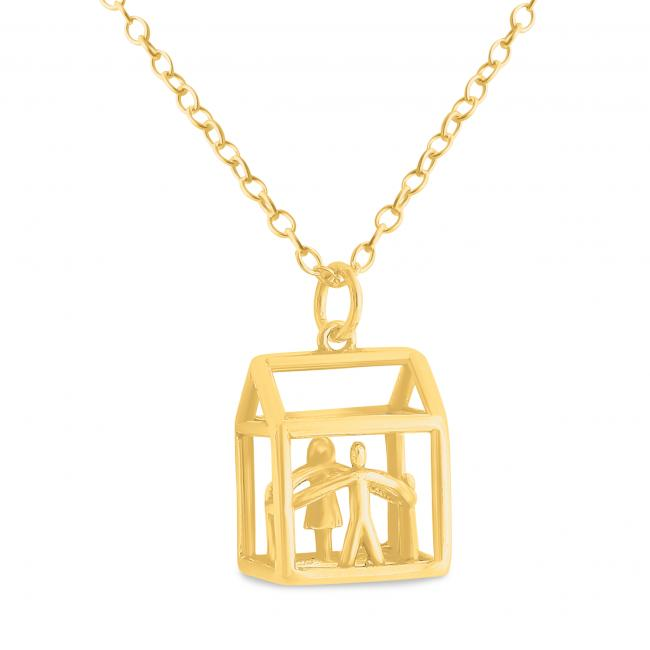 Gold plated necklace 3D Loving Family House Mother, Father and Two Children Holding Hands