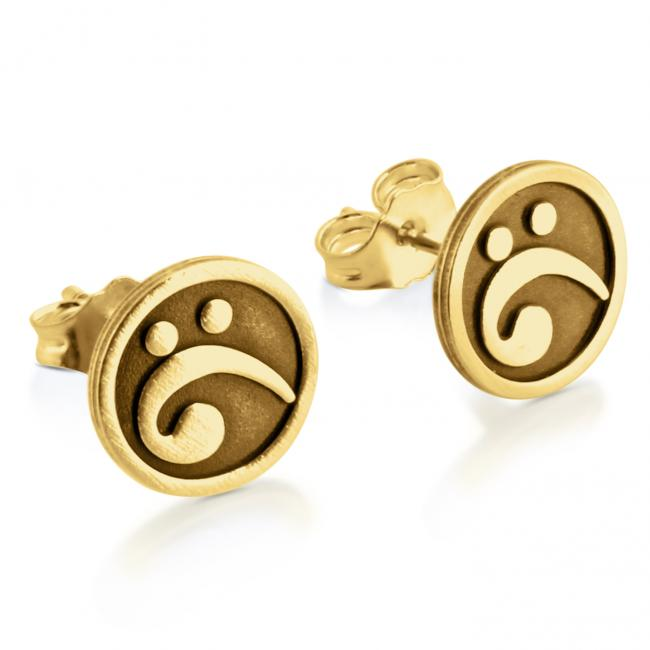 Gold plated earrings Bass Clef