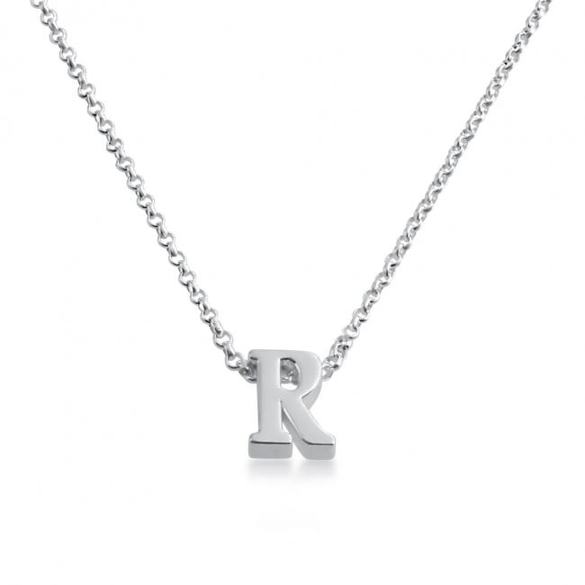 925 sterling silver necklace Initial Letter R Personalized Symbols & Letters Serif Font