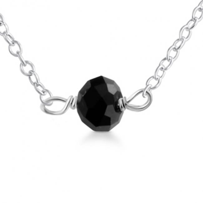 925 sterling silver necklace Black Gem Stone Pendant
