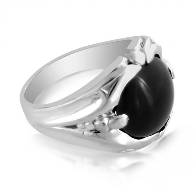 925 sterling silver ring Mens Ring w/ Large Cabochon Black Onyx Stone
