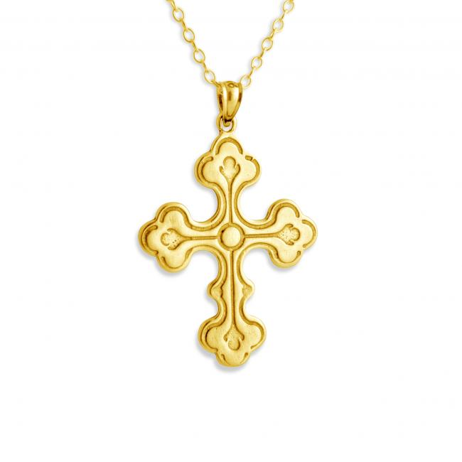 Gold plated necklace Large Budded Cross w/ Circle in Center