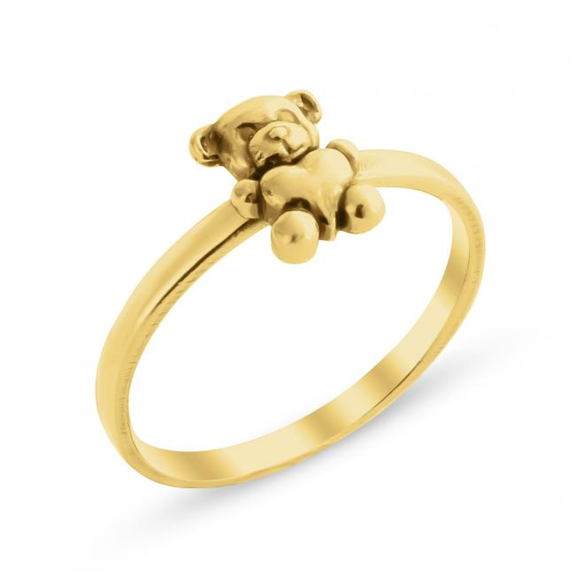 Gold plated ring Teddy Bear