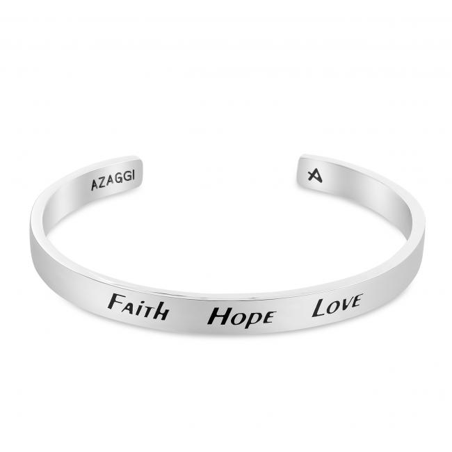 925 sterling silver bracelet Brass/ Rhodium Faith Hope Love Inspirational Cuff Bracelet