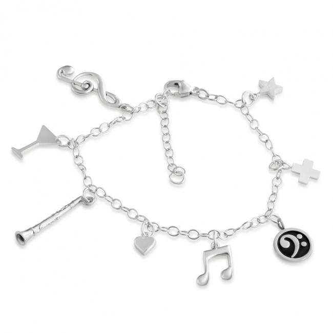 925 sterling silver bracelet Music Lovers Multi Charm