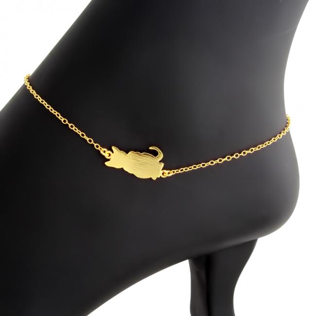 Gold plated anklet Cute Cat Kitty Charm Pendant