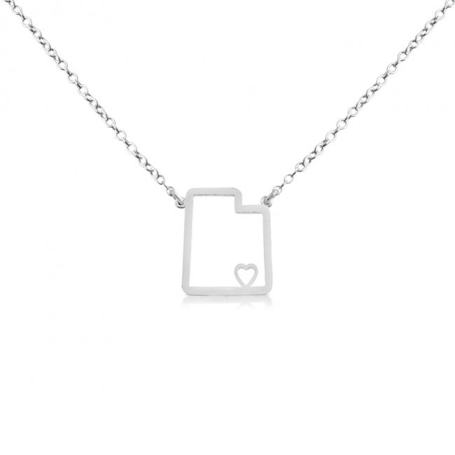 925 sterling silver necklace Utah Home is Where The Heart Is State Necklace