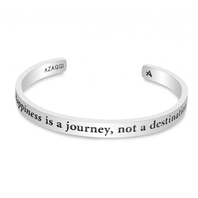 925 sterling silver bracelet Brass/ Rhodium Happiness is a journey, not a destination Inspirational Cuff Bracelet