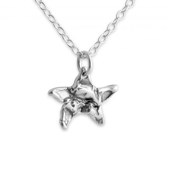 925 sterling silver necklace Hammered Star