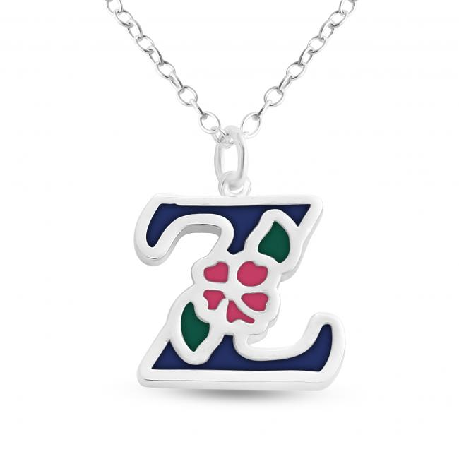 925 sterling silver necklace Colored Initial Letter Z with Flower