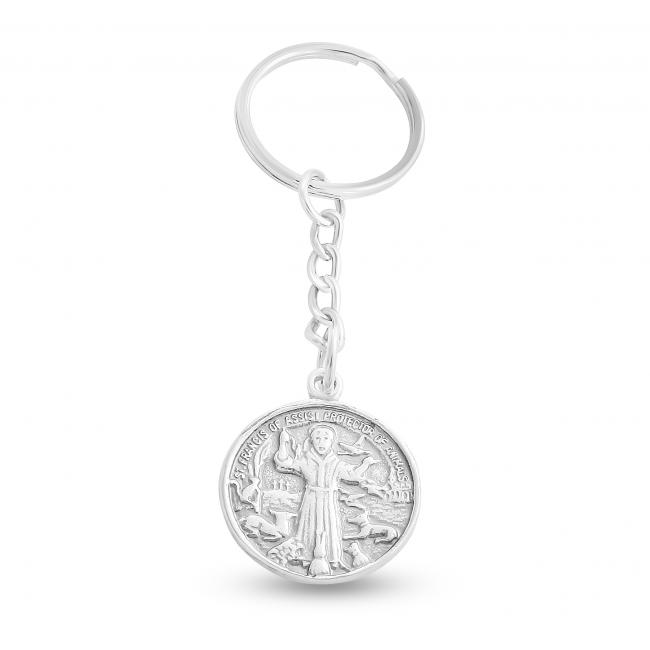 925 sterling silver keychain St. Francis of Assisi Keychain