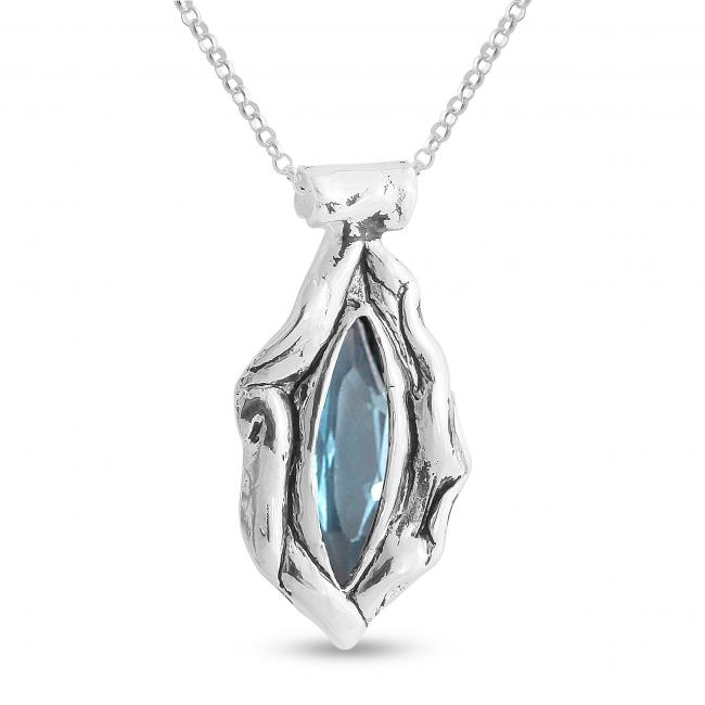 925 sterling silver necklace Ice-Blue Marquise Shaped Synthetic Aquamarine