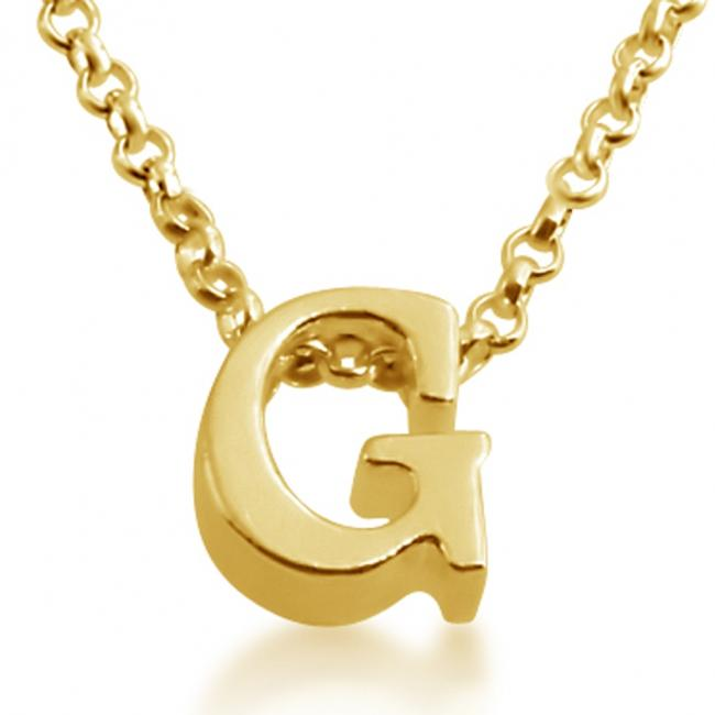 Gold plated necklace Initial Letter G Personalized Symbols & Letters Serif Font