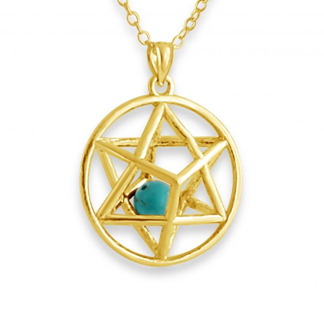 Gold plated necklace 3D Star of David w/ Synthetic Turcoaz Bead