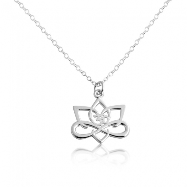 925 sterling silver necklace Big Lotus Flower