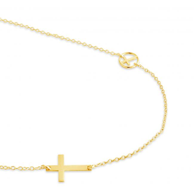 Gold plated necklace Cross w/ Cross in Circle