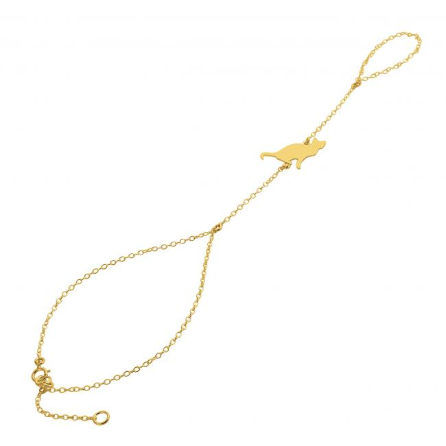 Gold plated bracelet Sitting Cat Silhouette