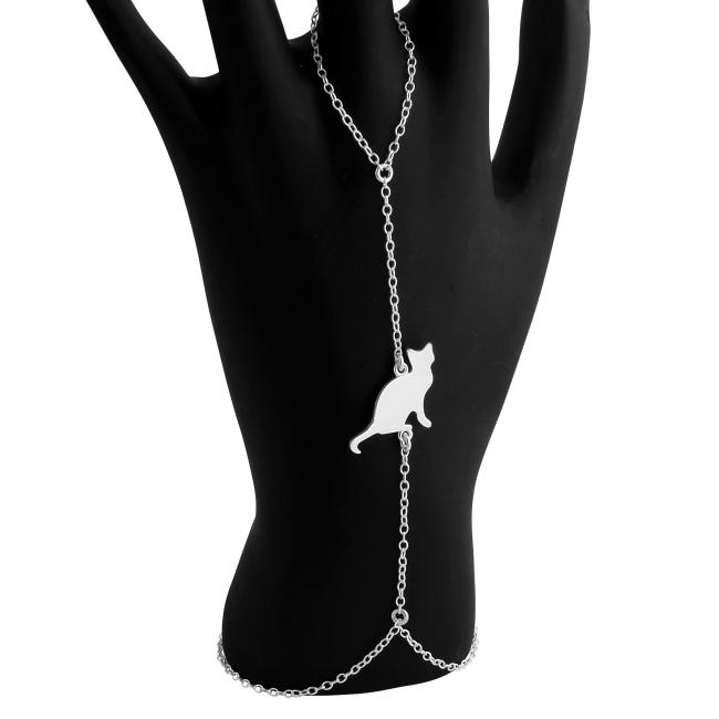 925 sterling silver bracelet Sitting Cat Silhouette
