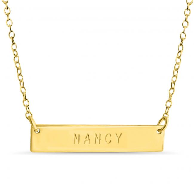 Gold plated necklace Name Bar Nancy