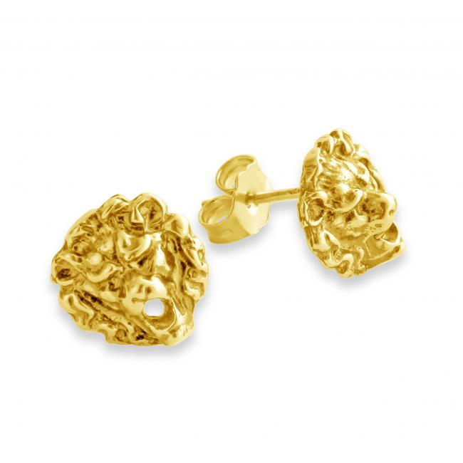 Gold plated earrings Roaring Lion