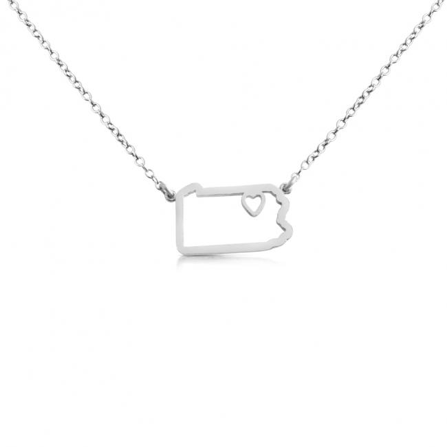 925 sterling silver necklace Pennsylvania Home is Where The Heart Is State Necklace