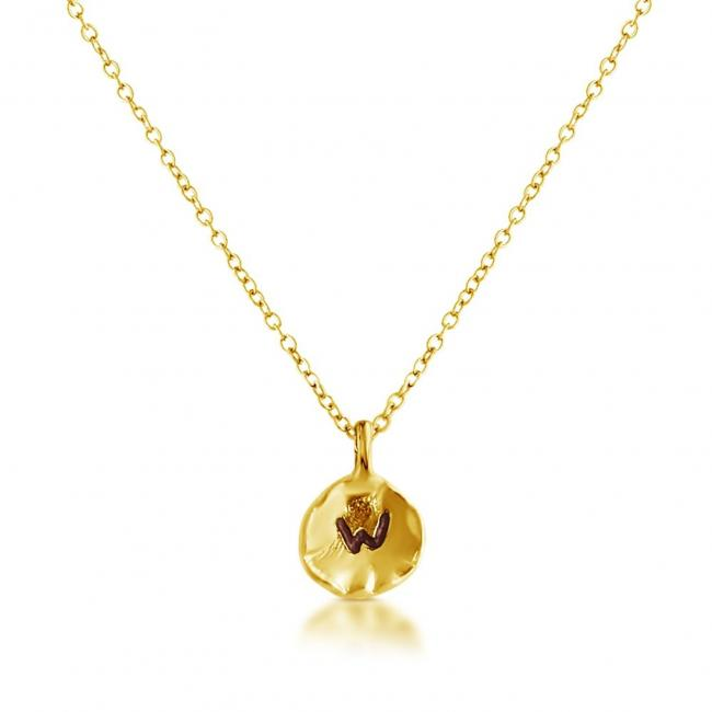 Gold plated necklace Letter W Passion Initial