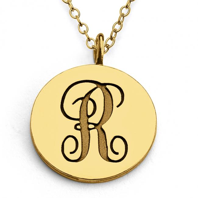 Gold plated necklace R Script Letters