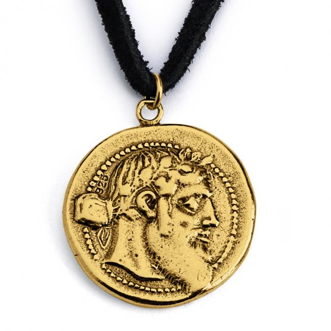 Gold plated necklace Replica Dionysus Greek God Ancient COIN