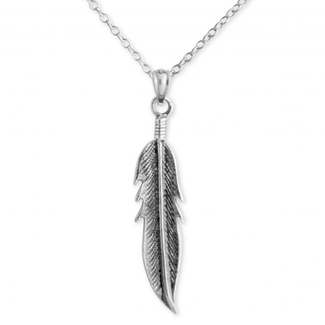 925 sterling silver necklace Large Feather