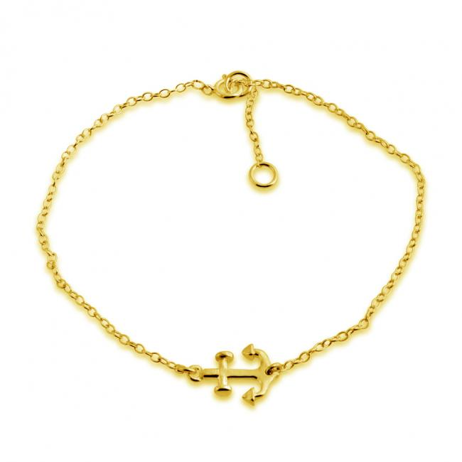 Gold plated bracelet Sideways Anchor