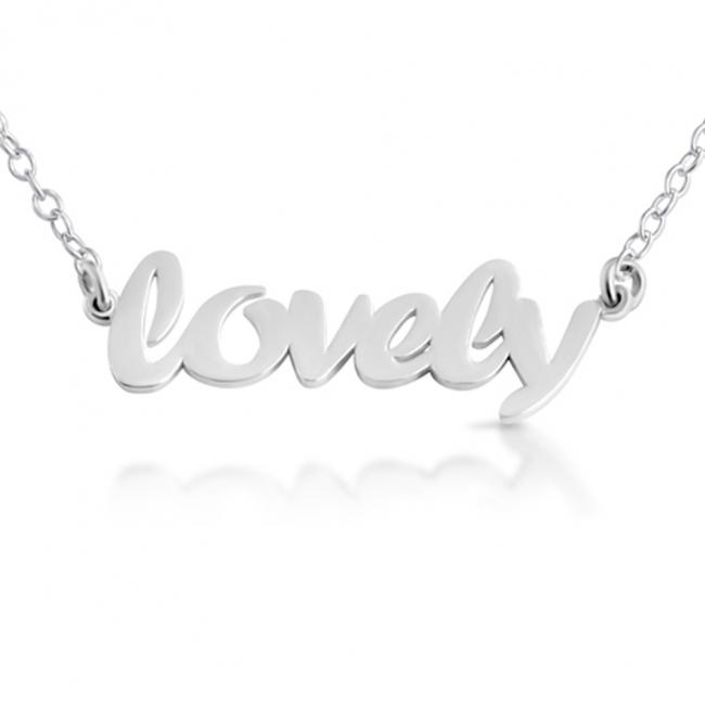 925 sterling silver necklace LOVELY (Script Word)