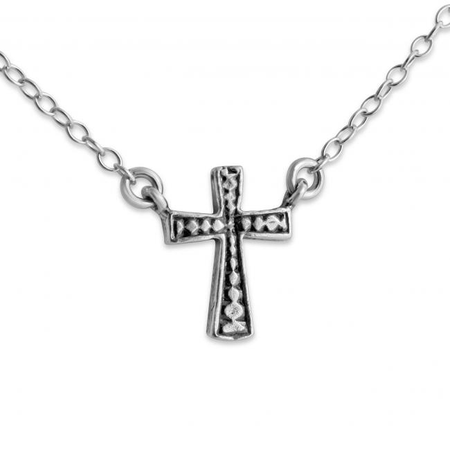 925 sterling silver necklace 3D Cross Jump Ring Necklace
